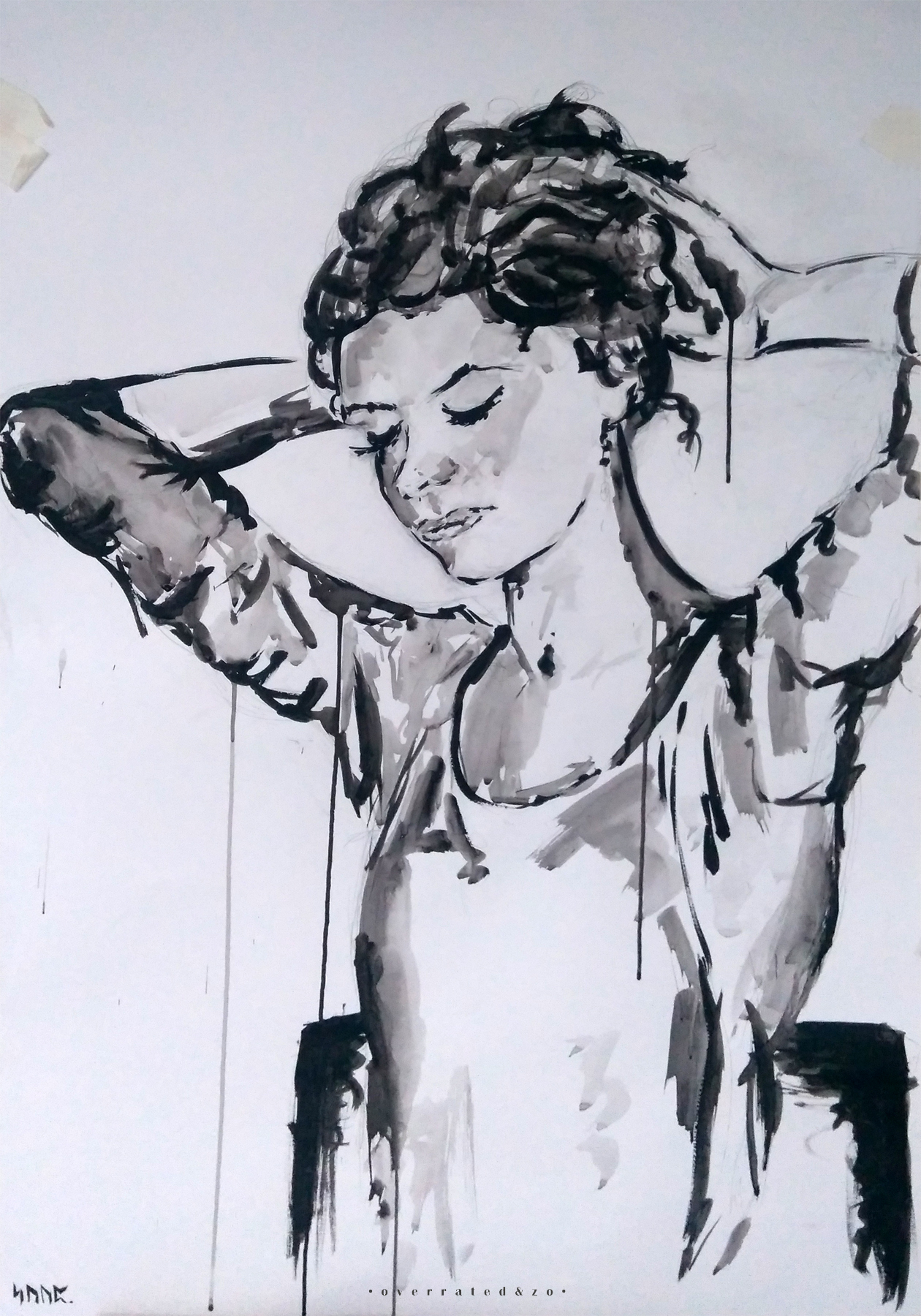 portrait ink black white milou overratedenzo suzanne dirne artist art