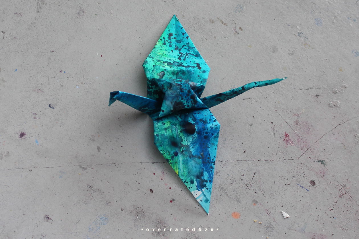 crane bird origami green blue 1