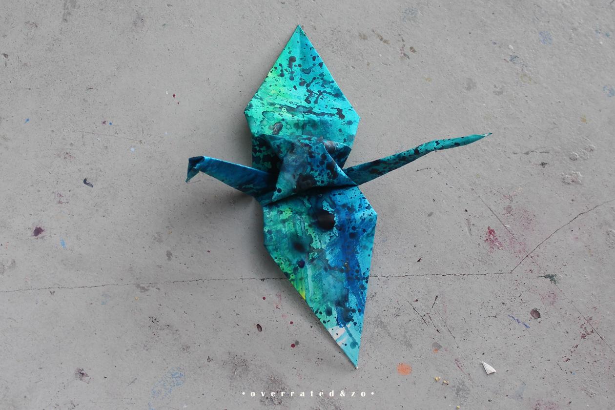 crane bird origami green blue 1