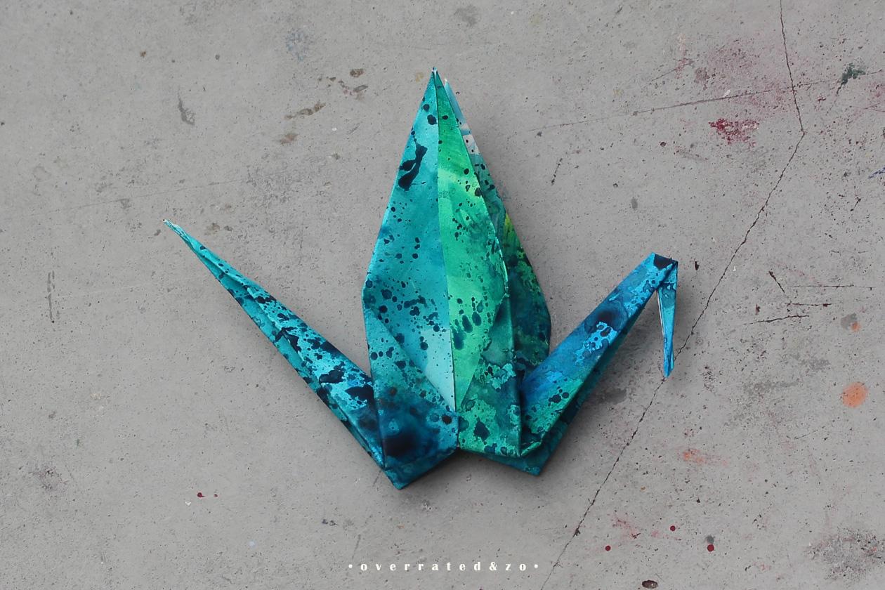 crane bird origami green blue 2
